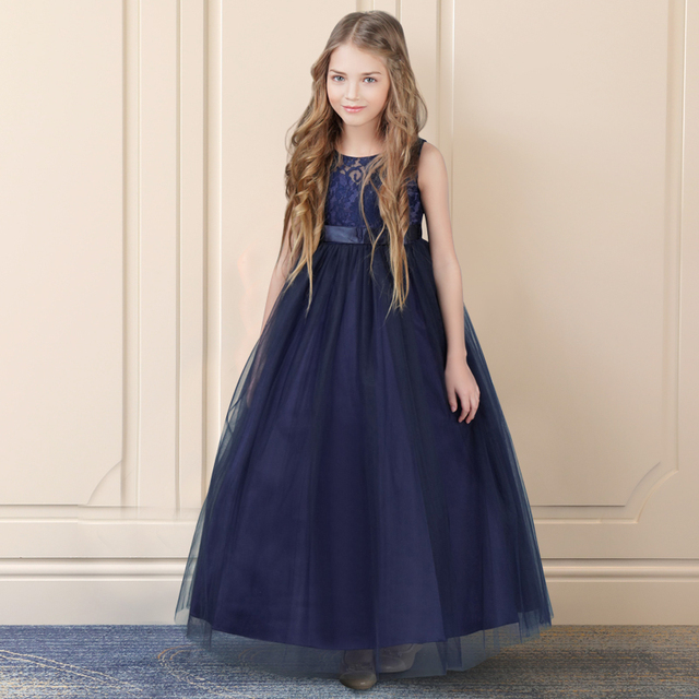 Azul marinho vestes petites filles Princesa Lace Flower Girl Dresses 2019 Tulle Meninas Peagant Vestidos Primeira Comunhão Vestidos