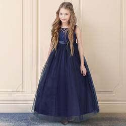 Темно синие petites filles халаты принцессы Кружево Платья с цветочным узором для девочек 2019 Тюль обувь Свадебные платья первого причастия