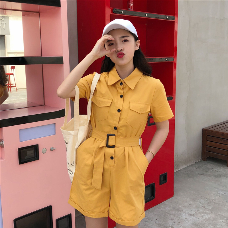 Women's Clothing Ingenious Preppy Style Candy Colors Jumpsuit Shorts Women Summer Loose Playsuits With Belt Female Hip Hop Streetwear Overalls B80305 Pleasant To The Palate