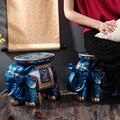 Série azul Elegante Criativo Pintados À Mão Elefante Banco Fezes de Elefante Decoração Melhor Presente de Natal