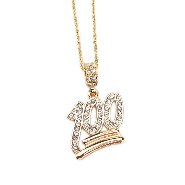 2018 fashion simple hollow necklace gold full white rhinestone 100 2018 fashion simple hollow necklace gold full white rhinestone 100 points pendant jewelry student bling necklaces mozeypictures Gallery