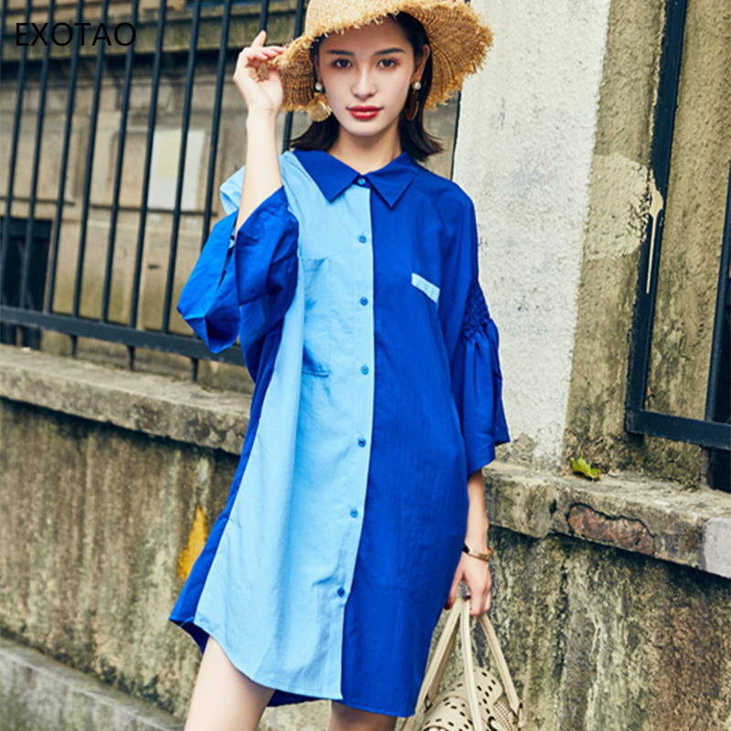 EXOTAO Hit Color Fold Sleeves Tunic Shirt Dresses Stitched Summer Dress Casual Loose Personalized Fashion Vestidos Femme 2018