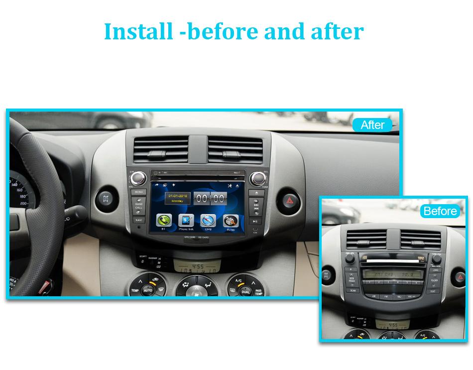 Discount Eunavi Car DVD Player 2Din Car Radio For Toyota RAV4 2006 2007 2008 2009 2010 Steering Wheel control Touch screen GPS Navigation 16