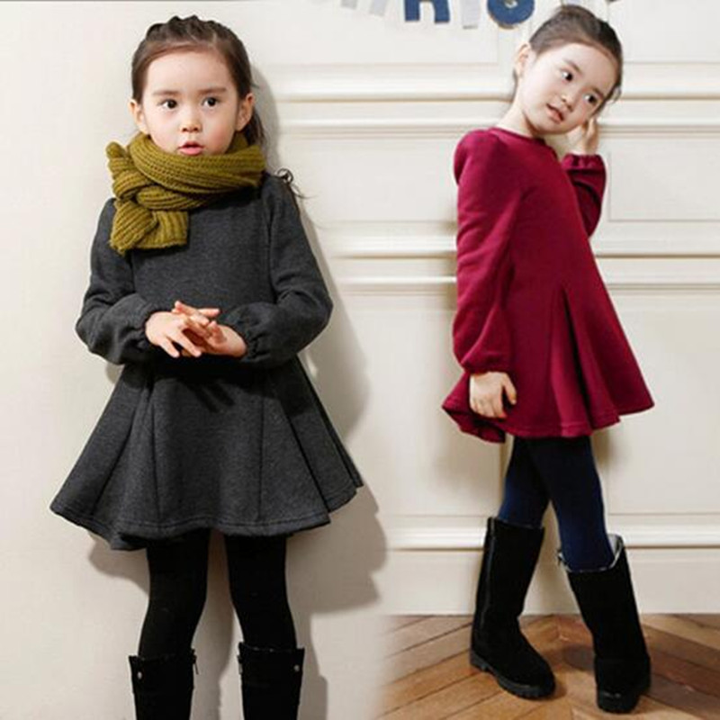 8b3bb39daf602 2016 Baby Girls Winter Autumn Warm Thick Dress Long Sleeve O-Neck Casual  Ruffles Dress Kids School Princess Cute Dress Hot Sale