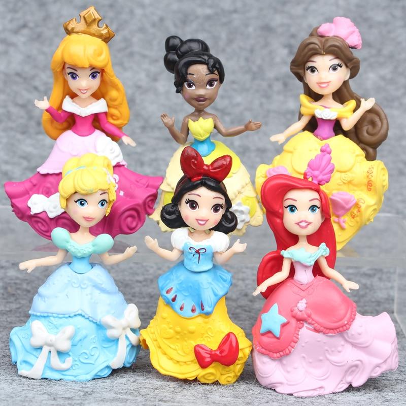 Ohmetoy Cake Toys Tinker Bell Mermaid Cinderella Snow White Moana Rapunzel Princess Figure Baking Toppers Girl Birthday Gift Toys & Hobbies