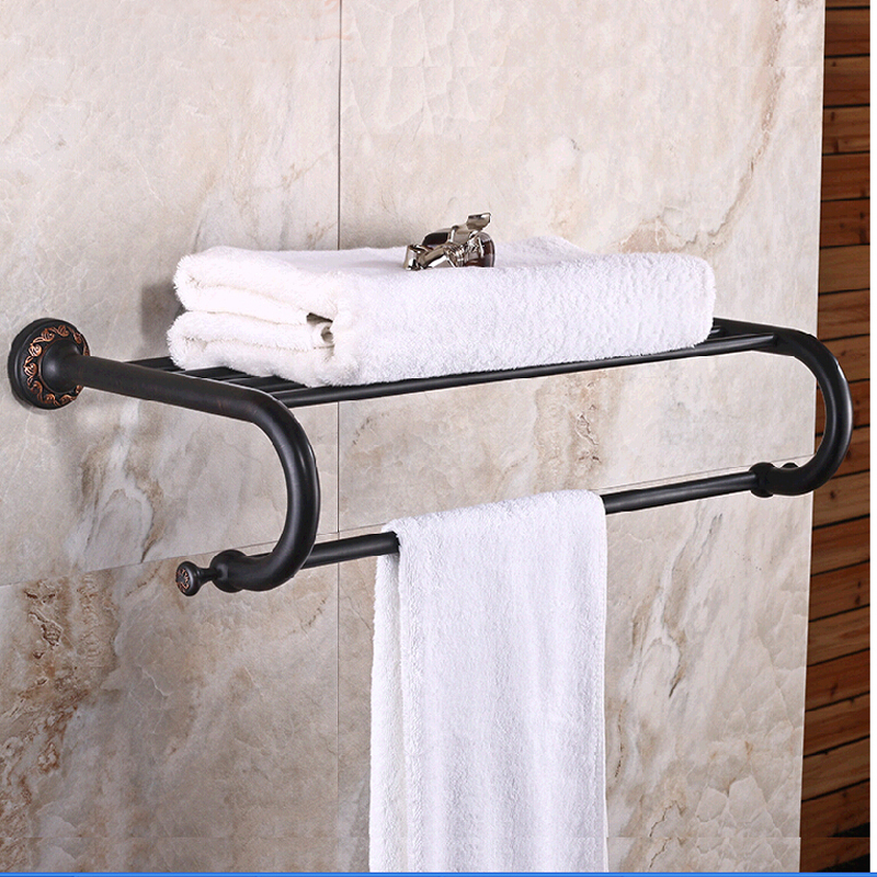 Wholesale And Retail Luxury Flower Carved Oil Rubbed Bronze Wall Mounted Shelf Towel Rack Holder Clothes Shelf W/ Towel Bar free postage oil rubbed bronze tooth brush holder double ceramic cups holder