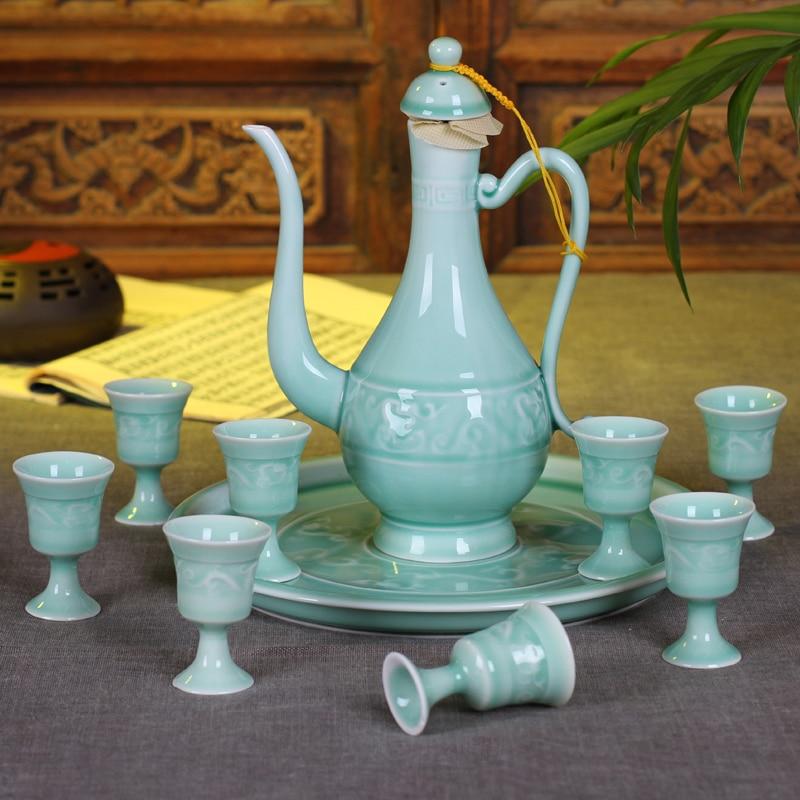 10 PCS/Lot ensemble de vin Vintage boisson tasse à Liqueur saké Pot bouilloire tasse à thé gobelet cadeau boîte-in Flasques from Maison & Animalerie    1