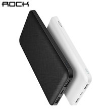 ROCK Slim 10000 mAh Power Bank,Portable Ultra-thin Polymer Powerbank battery power-bank 10000mah With LED Light for Mobile Phone(China)