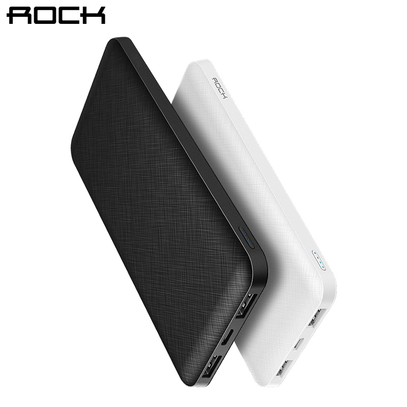 ROCK Slim 10000 мАч Мощность банк портативный ультра-тонкий полимер Мощность bank батареи Мощность-банк 10000 мАч с светодиодный свет для мобильного телефона