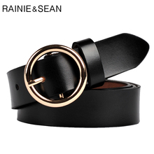 RAINIE SEAN Pin Buckle Belt Women Black Vintage Genuine Leather Female Circle Strap Retro Ladies Jean Belts