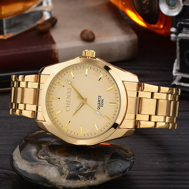 Luxury CHENXI Gold Shockproof Waterproof Stainless Steel Quartz Analog Dress Wristwatches Wrist Watch for Men 024A