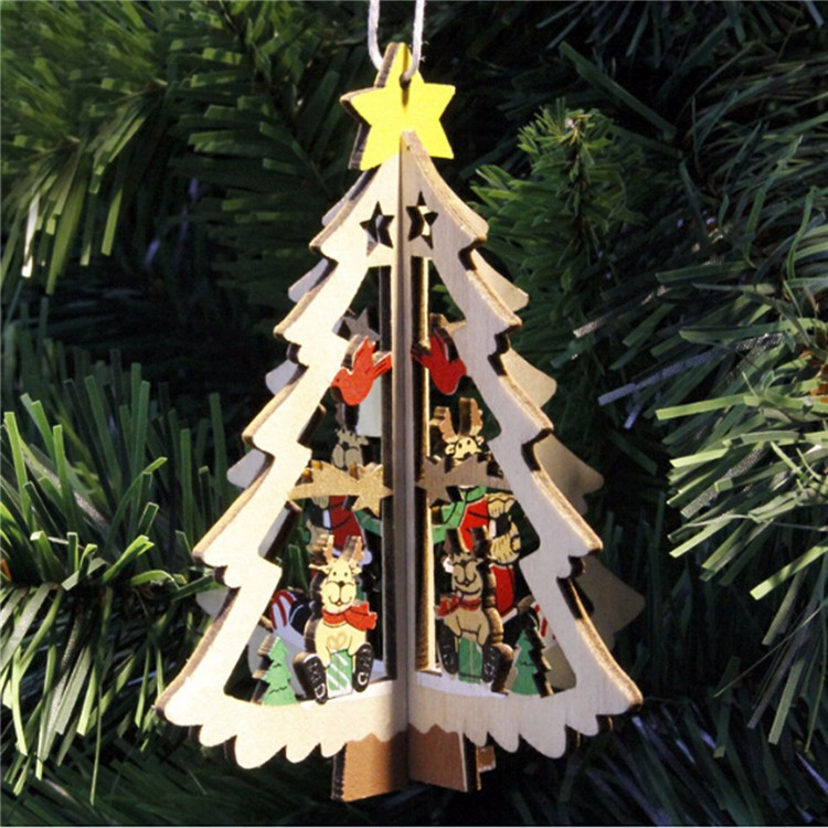 Wooden Five Star Christmas Tree Christmas bell hanging Festival ...