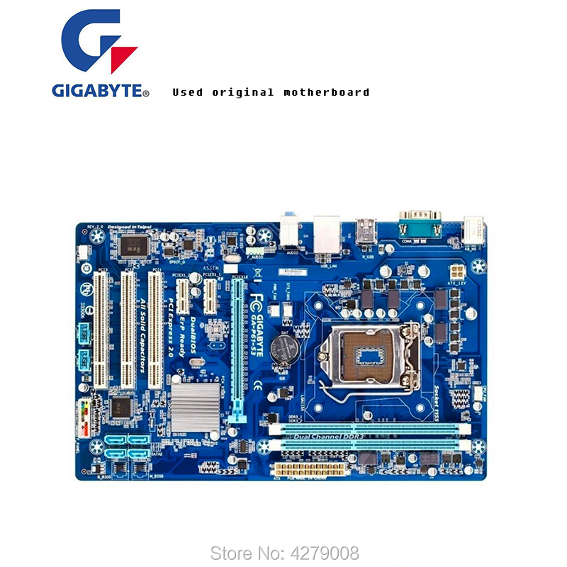 For 100 original Free shipping H61 motherboard for Gigabyte GA P61 S3 P61 DDR3 LGA1155 P61