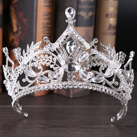 Big Size Tiara Crown For Bride Wedding Hair Accessories 2018 New Plant Leaf Rhinestones Queen Crown Hair Jewelry