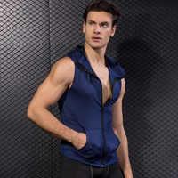 YD высокая эластичность Мужская куртка с капюшоном быстросохнущая без рукавов куртка для бега Спортивная жилетка для спортзала фитнес плот...