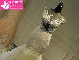 Image 2 - Champagne Mermaid Lace Wedding Dress 2019 Backless See Through Vestidos de novia Robe De Mariage MTOB1734