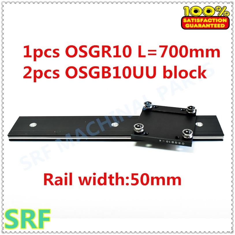 50mm width Aluminum roller linear guide rail external dual axis linear guide 1pcs OSGR10 L 700mm