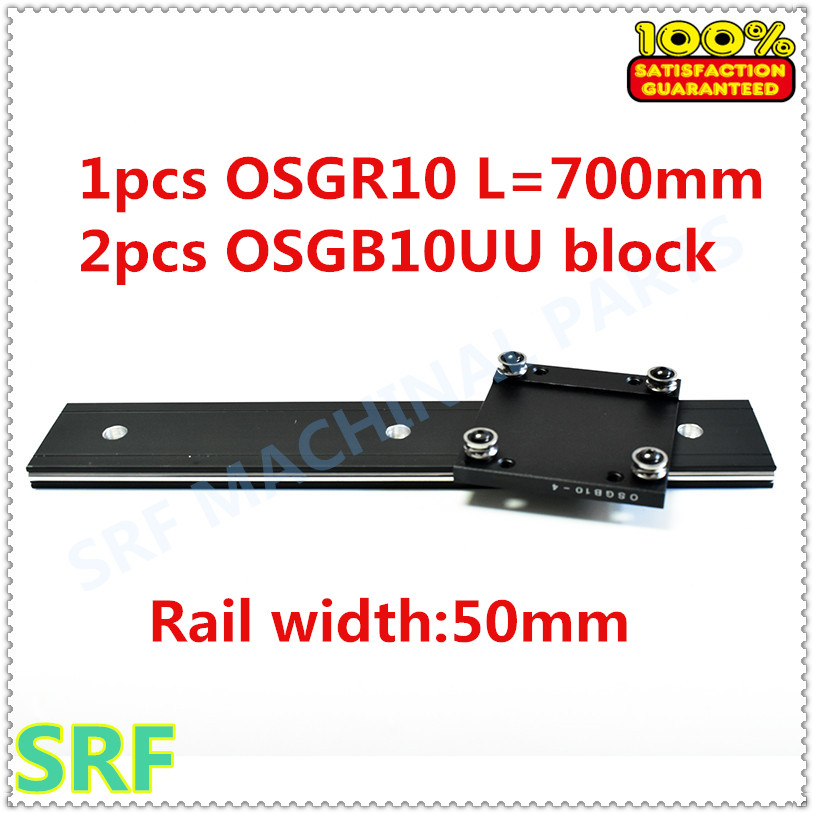 50mm width  Aluminum roller linear guide rail external dual axis linear guide 1pcs OSGR10 L=700mm+2pcs OSGB10 block 50mm width  Aluminum roller linear guide rail external dual axis linear guide 1pcs OSGR10 L=700mm+2pcs OSGB10 block
