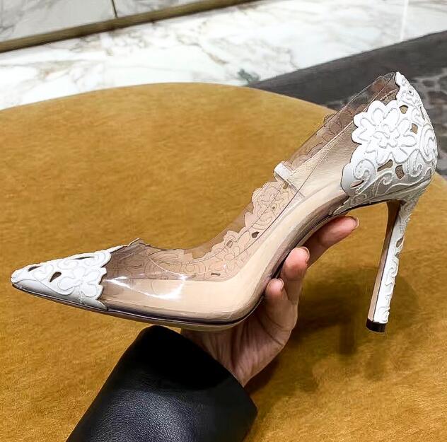 Carpaton/женские туфли на высоком каблуке; Туфли на тонком каблуке с острым носком и кружевом в стиле пэчворк; белые свадебные женские туфли на шпильке - 4