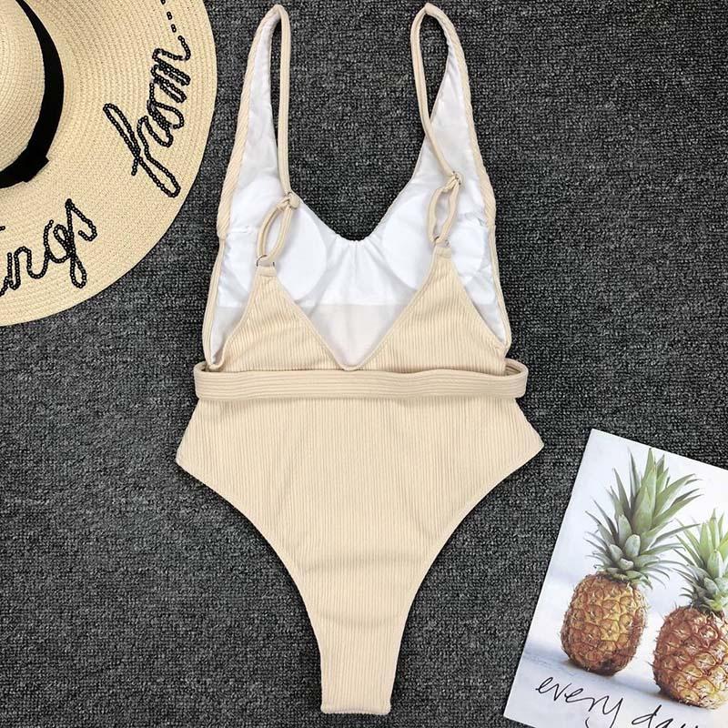 Одноцветный купальный костюм с бретельками, модель 2020 года, сексуальный купальник для женщин, с поясом, с высокой посадкой, пляжная одежда, u-... 37