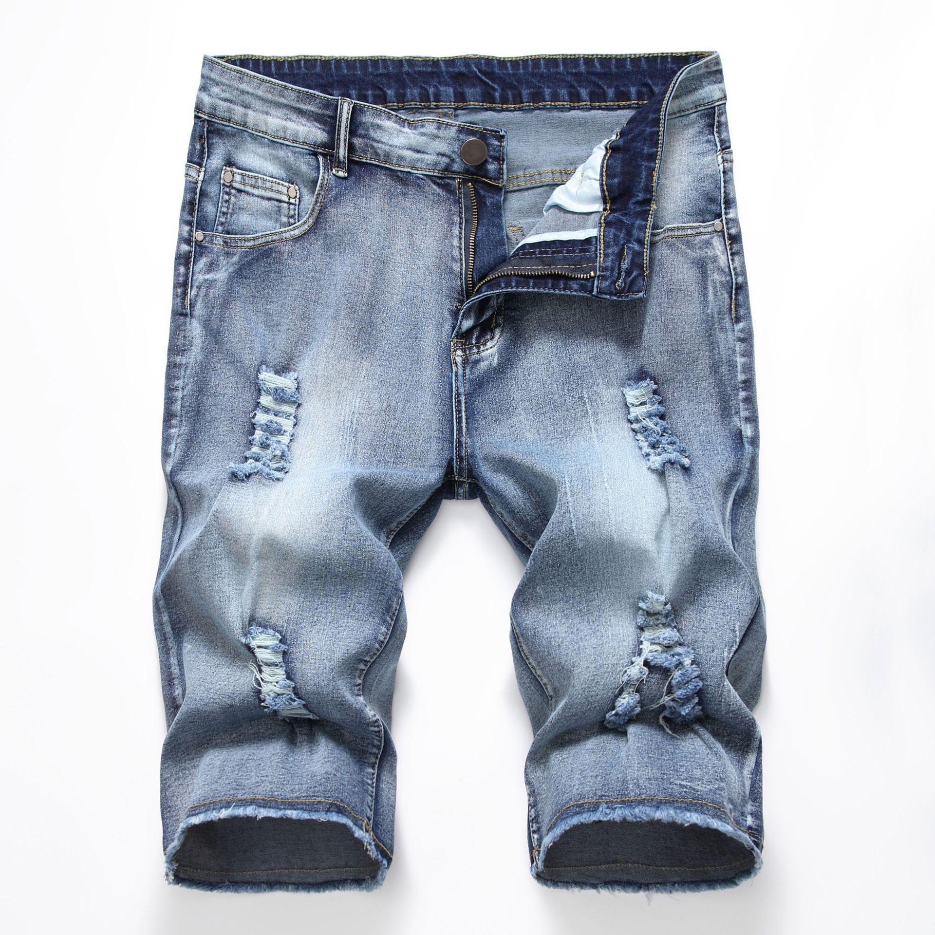 New Fashion Mens Ripped Short Jeans Brand Clothing Bermuda Summer Cotton Shorts Breathable Denim Shorts Male 28-42