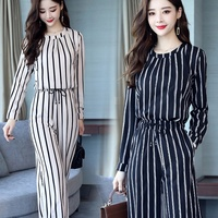 Fall Two Piece Women Outfits Striped Long Sleeve Tops And Harem Pants Sets Casual Office Korean Ladies Suits DD1988