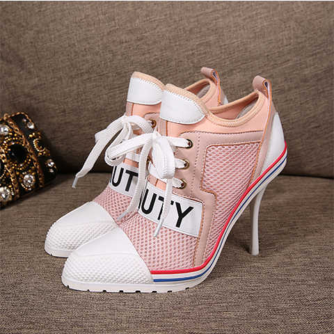 9a11f1ec26f Sport Style High Heels Women Ankle Boots Breathable mesh Leather Patchwork  Beauty Sexy Ladies Pumps Lace Up Autumn Ankle Booties