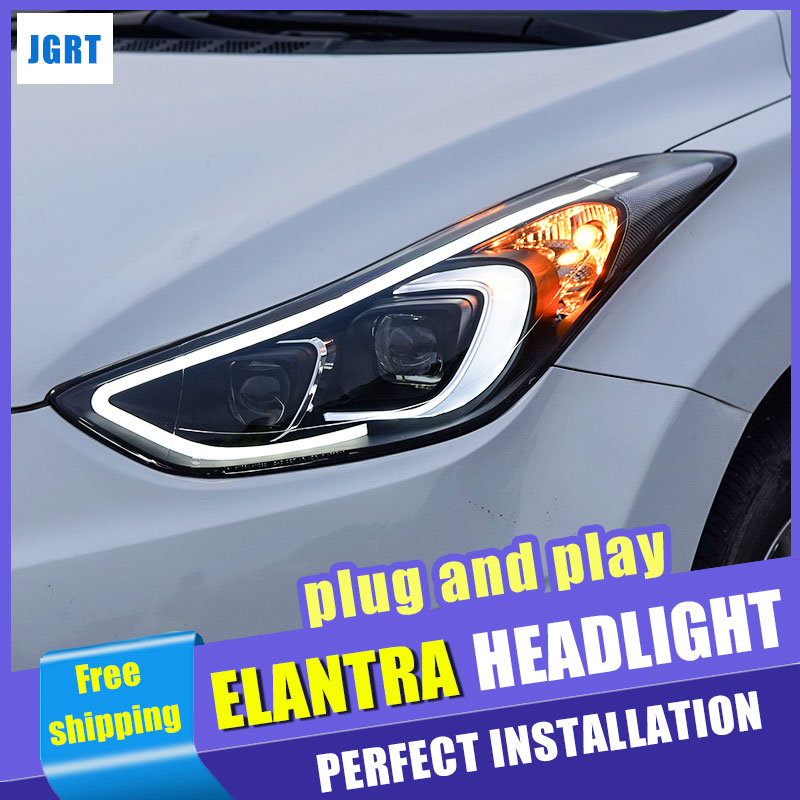 Car styling For Hyundai Elantra LED headlight assembly 2013-2016 for Elantra head lamp led H7 with hid kit 2 pcs. hireno headlamp for 2016 hyundai elantra headlight assembly led drl angel lens double beam hid xenon 2pcs