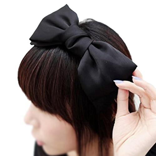 1X Sweet Cute Korea Style Big Bowknot Hair Band Bow Headband(black)
