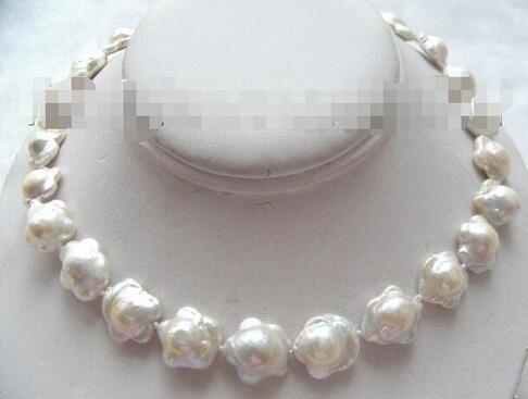 Hitches Sales Free Shipping ******* Classic 17mm White Natural Southern Reborn Kesi Flower Pearl Necklace b0831