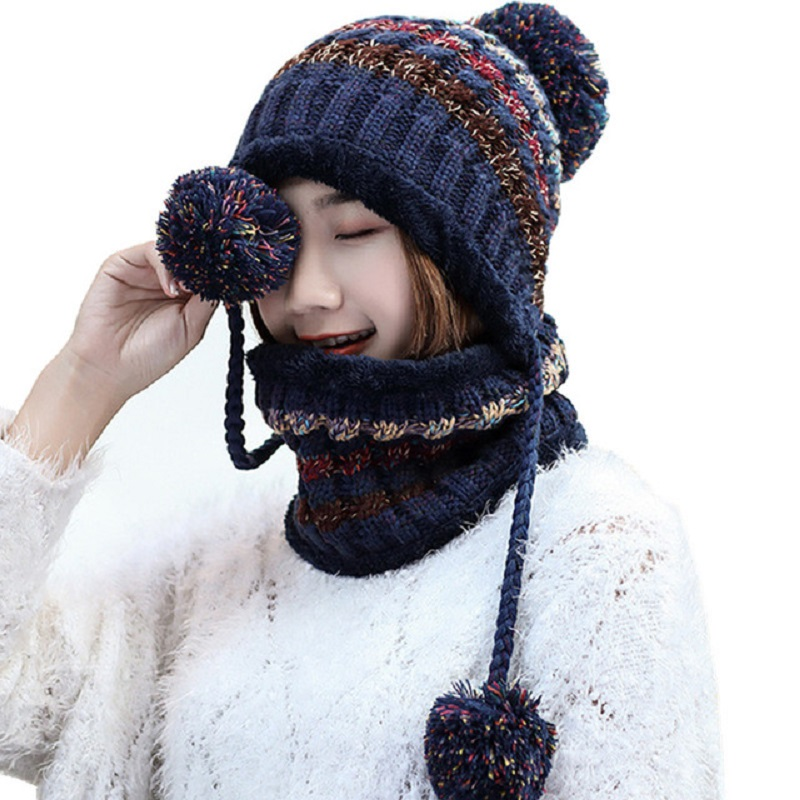 Winter Hats For Women Pom Pom   Skullies     Beanies   Cap Neck Warmer Fleece Hat Mask Scarf Set Earflaps Knitted   Beanie   Thicken Caps