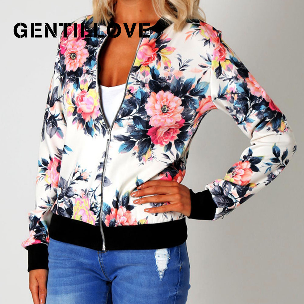 Gentillove Women Autumn Retro Floral Print Zipper Short Casual   Jacket   Long Sleeve Outwear Women   Basic     Jacket   Bomber 5XL Famale