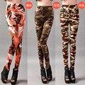 Primavera Outono Grande Elástico Personalizado Camuflagem Militar Leggings Mulheres Imprimir Calças Compridas Calças Femininas Frete Grátis