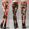 Spring Autumn Big Elastic Personalized Camouflage Military Leggings Women Print Long Pants Female Trousers Free Shipping