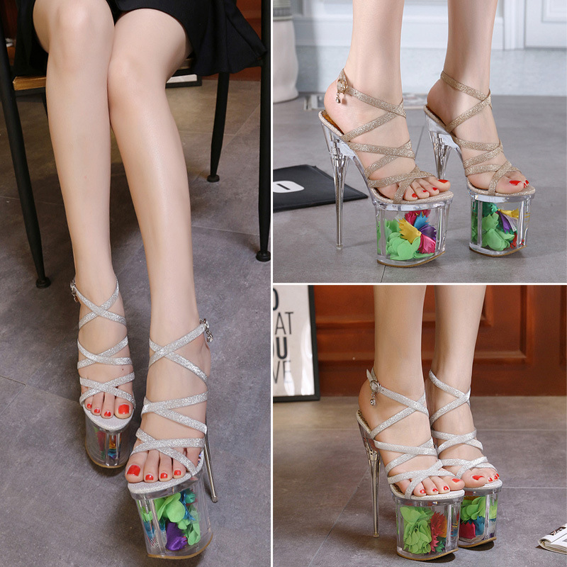 ФОТО Free shipping 2017 European Spring new fashion high-quality sexy Transparent Sandals women shoes heel 19cm