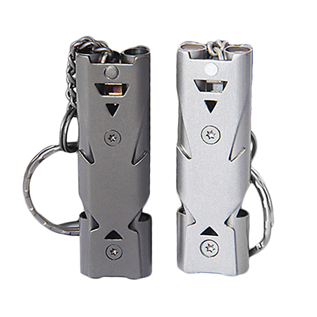Aluminum high-frequency Emergency Survival Whistle Keychain for Camping Hiking Outdoor Accessories Self Defense and Personal Protection