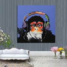 Money Cartoon Oil Painting on Canvas Abstract Animal Wall Art for Home NO FRAME