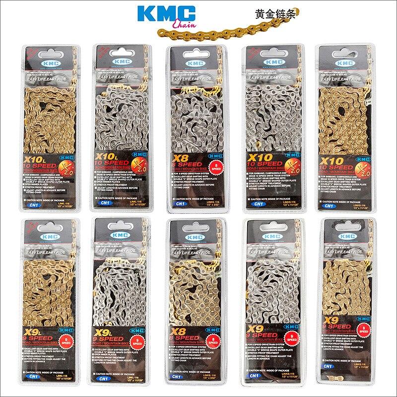 KMC X8 X9 X9sl X10 X10sl X11SL X12 chaîne de vélo 9S 10S 11S or pour vtt/vélo de route pour Shimano/SRAM 8 9 10 11 vitesses 116L/chaîne