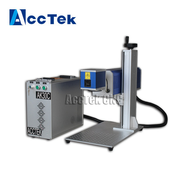 Jinan ACCTEK portable design plastic wood co2 laser marking machine with American synrad metal laser tube