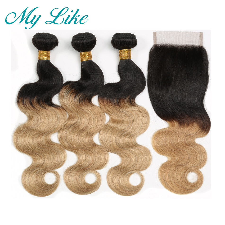My Like Peruvian Hair Weave 3 Bundles with Lace Closure 1B 27 Ombre Blonde Non-remy Body Wave Human Hair Bundles with Closure