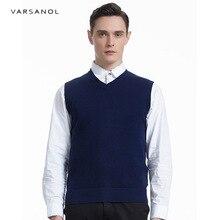Varsanol бренд хлопковый свитер v-образным вырезом Повседневная рукавов Fit Вязание мужские свитера Новая однотонная Осенняя мода Для мужчин пуловер M-3XL