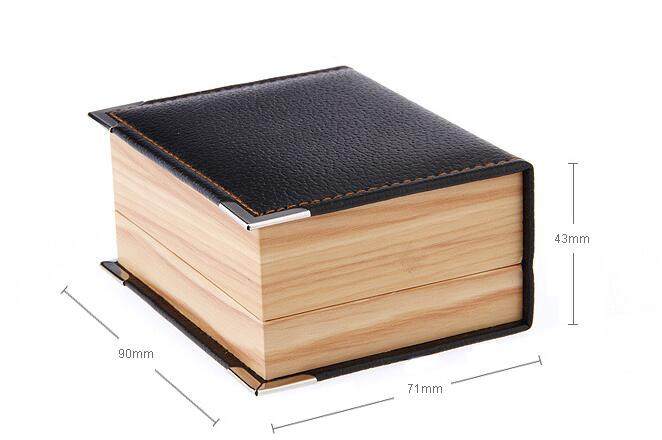 50pcs lot Top Quality Faux Leather Wood Grain Cufflink Boxes Cuff Button Storage Box Cuff Link