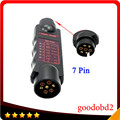 Professional  Vehicle 7Pin Trailer Towing Light Cable Circuit Plug Socket Tester Black LED 12V