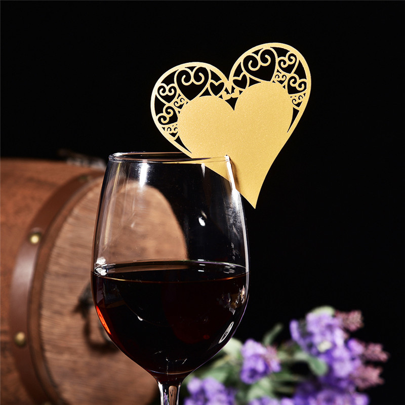 50pc Love Heart Butterfly Wine Glass Paper Card Laser Cut Escort Cup Name Place Card Birthday Party Wedding Decorations 12 Types 1 design laser cut white elegant pattern west cowboy style vintage wedding invitations card kit blank paper printing invitation