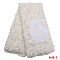 Latest 3d lace fabric with beads embroidered alibaba express nigerian lace fabric 2018 high quality indian fabric AMY1561B 1