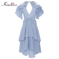 Kinikiss Women Beach Dress 2017 Summer Dress Blue Striped Asymmetric Ruffles Sleeve Party Dress Backless Fashion