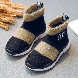 Image 2 - أحذية أطفال طويلة الرقبة الثلوج الفتيات طفل أحذية الأطفال أحذية للبنات طفل أحذية مضادة للماء شتاء دافئ القطن جورب الأحذية ل Girs شقة