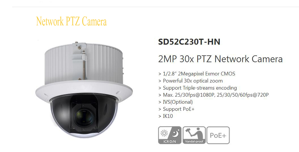 Free Shipping DAHUA IP Camera 2Mp FULL HD 30x Ultra-high Speed Network PTZ Camera Support PoE+ IK10 Without Logo SD52C230T-HN dahua full hd 30x ptz dome camera 1080p