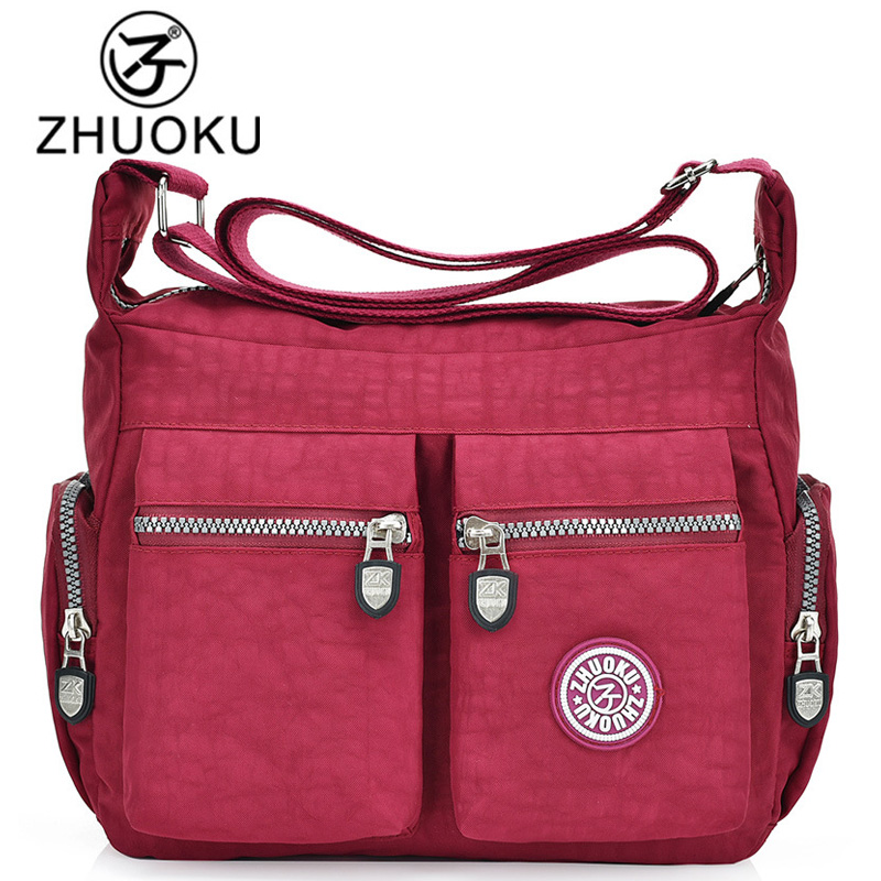 ZHUOKU 2017 Women Nylon Bags Women Handbags Large Capacity Nylon Messenger Bags Casual Strap Shoulder Bag Bolsa feminina WH506 jinqiaoer woman nylon bag women messenger bags for women handbags shoulder bag large capacity stroller bag bolsa feminina wh392