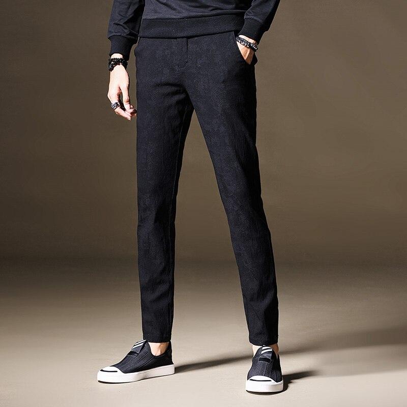 2017 nouveau Design décontracté hommes pantalon coton Slim pantalon tactique hiver pantalon droit mode affaires solide noir pantalon hommes